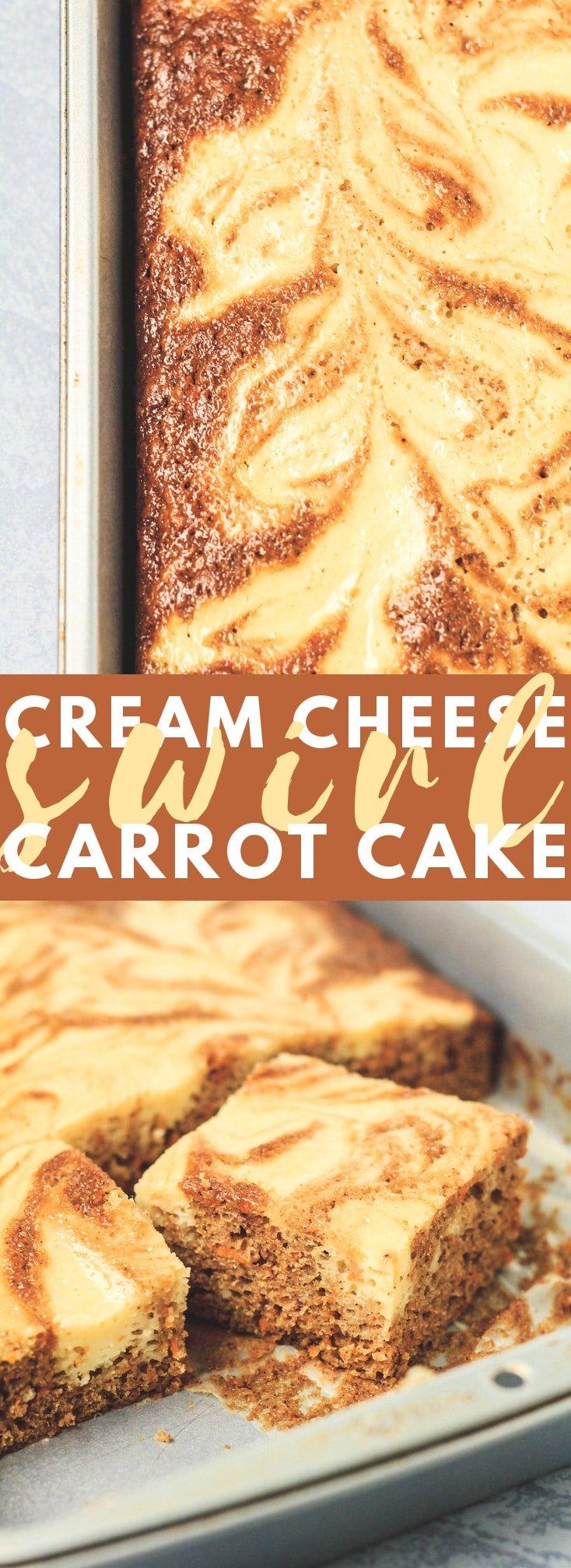 Carrot Cake Bars with Cream Cheese Swirl