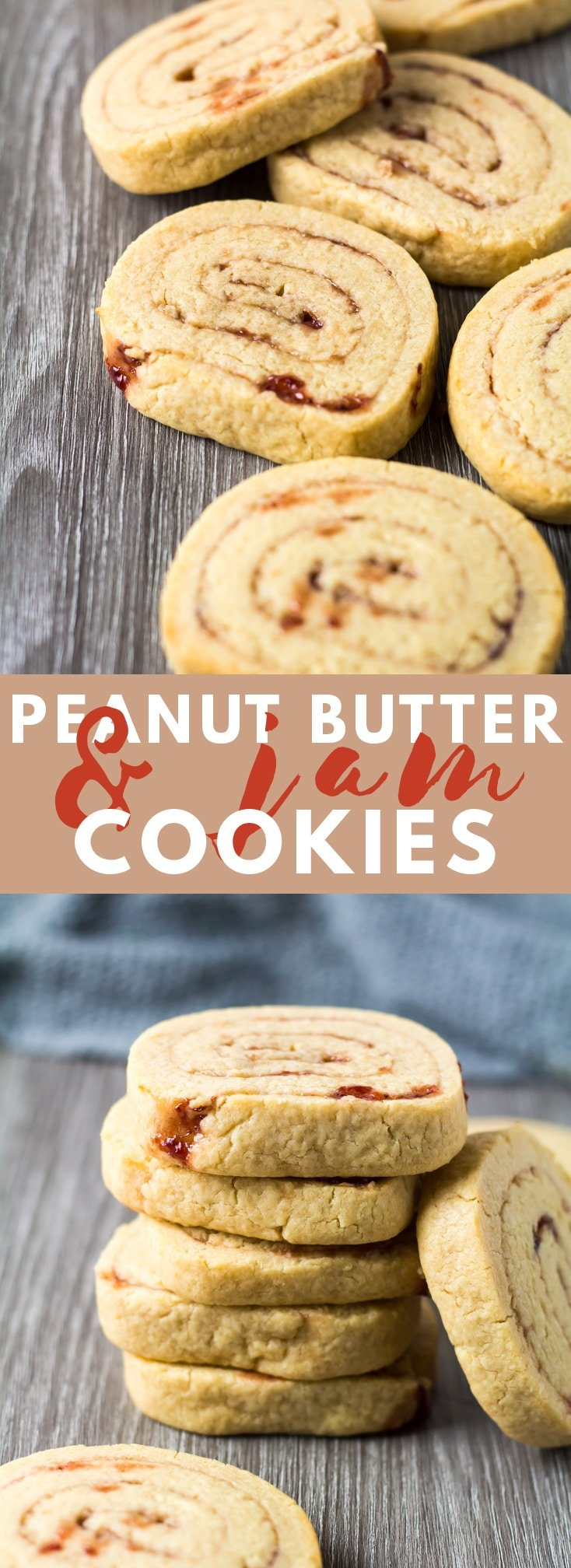 Peanut Butter & Jam Pinwheel Cookies - Deliciously soft and buttery cookies that are loaded with peanut butter, and filled with a raspberry jam swirl!
