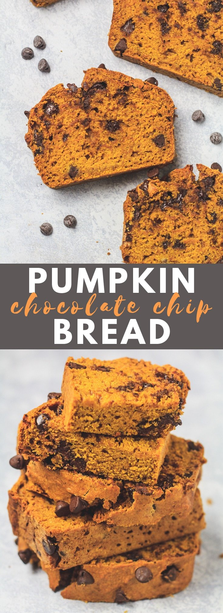 Pumpkin Chocolate Chip Bread - Incredibly moist pumpkin bread that is perfectly spiced, LOADED with pumpkin puree, and stuffed full of chocolate chips. This is the BEST chocolate chip pumpkin bread! #pumpkinbread #fallrecipes