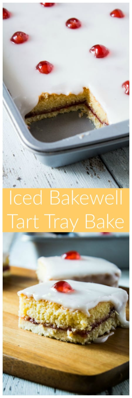 Iced Bakewell Tart Tray Bake - Take the classic cherry Bakewell tart recipe and make it into a tray bake! A golden layer of shortcrust pastry filled with an almond cake, strawberry jam, and topped with icing and glacé cherries!