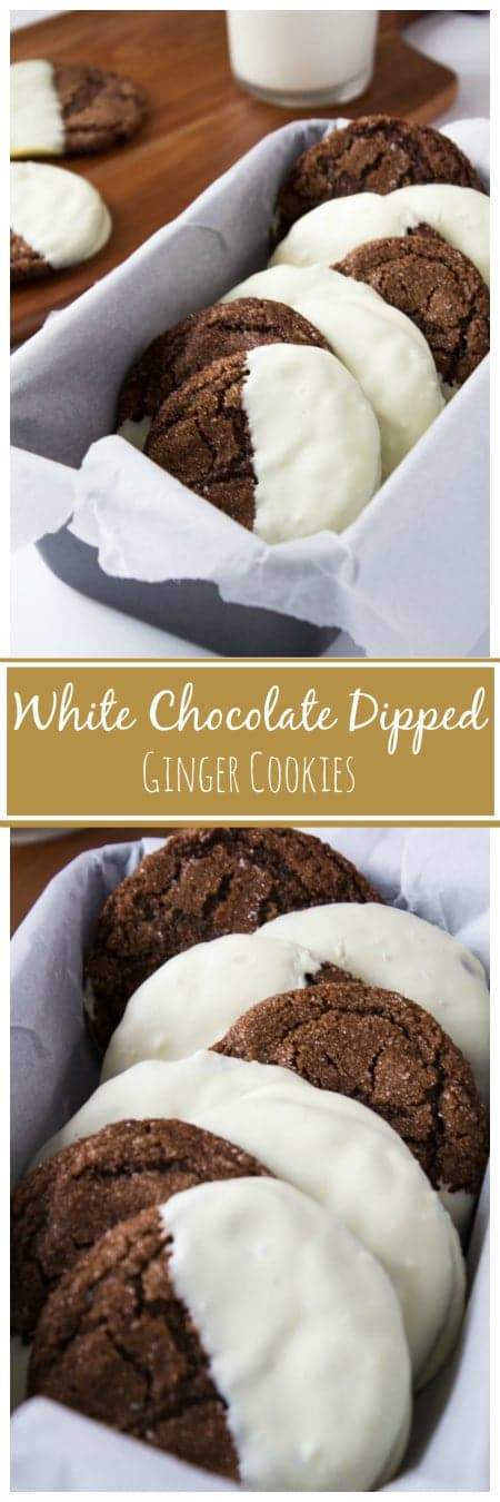 A long image of White Chocolate Dipped Ginger Cookies with text overlay.