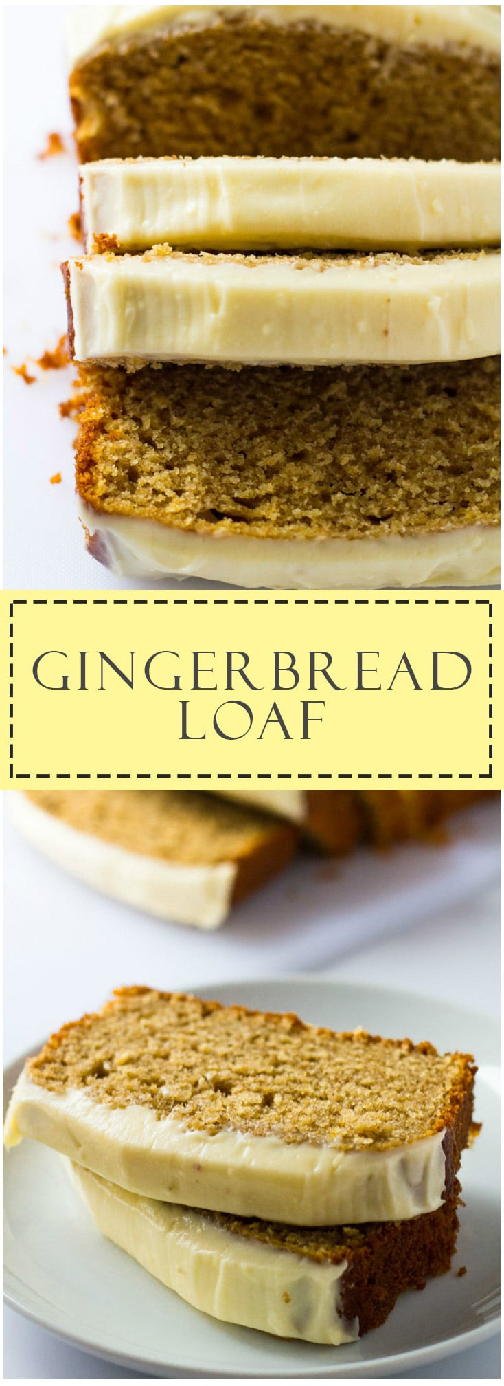 Gingerbread Loaf - Deliciously moist gingerbread spiced loaf cake topped with thick cream cheese frosting!