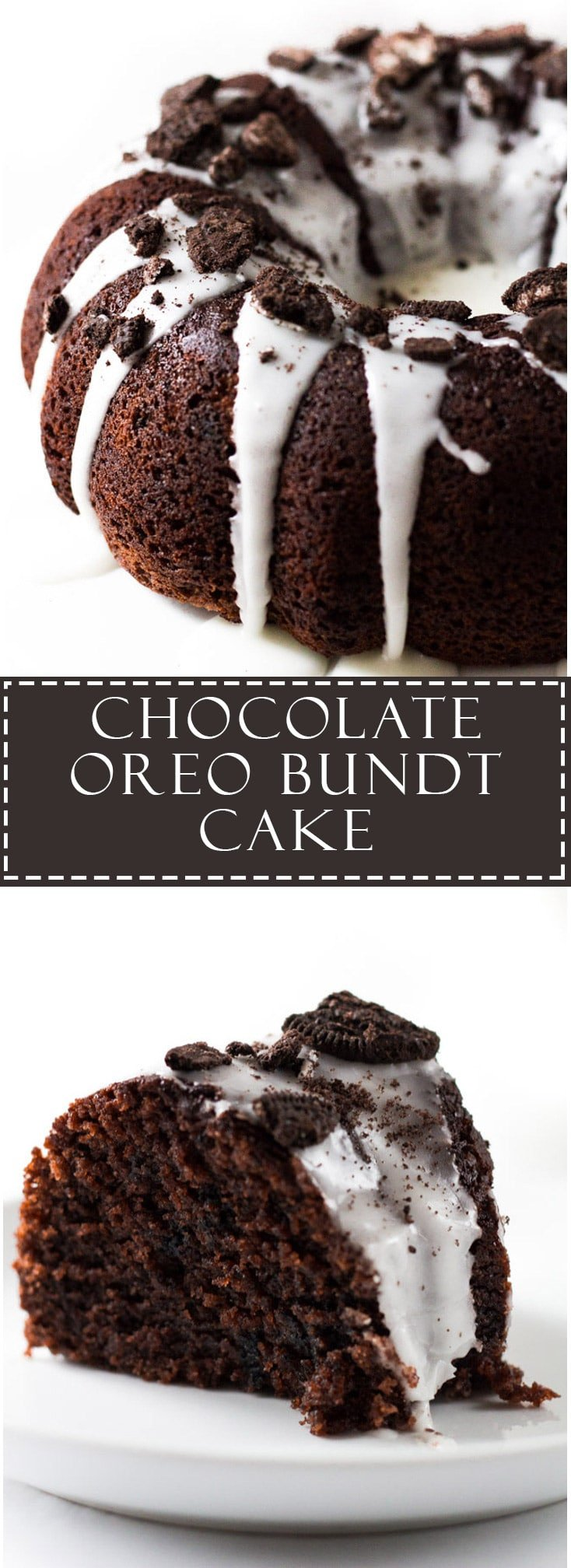Chocolate Oreo Bundt Cake - Soft and moist chocolate bundt cake stuffed with Oreo chunks, iced and topped with even more Oreos!