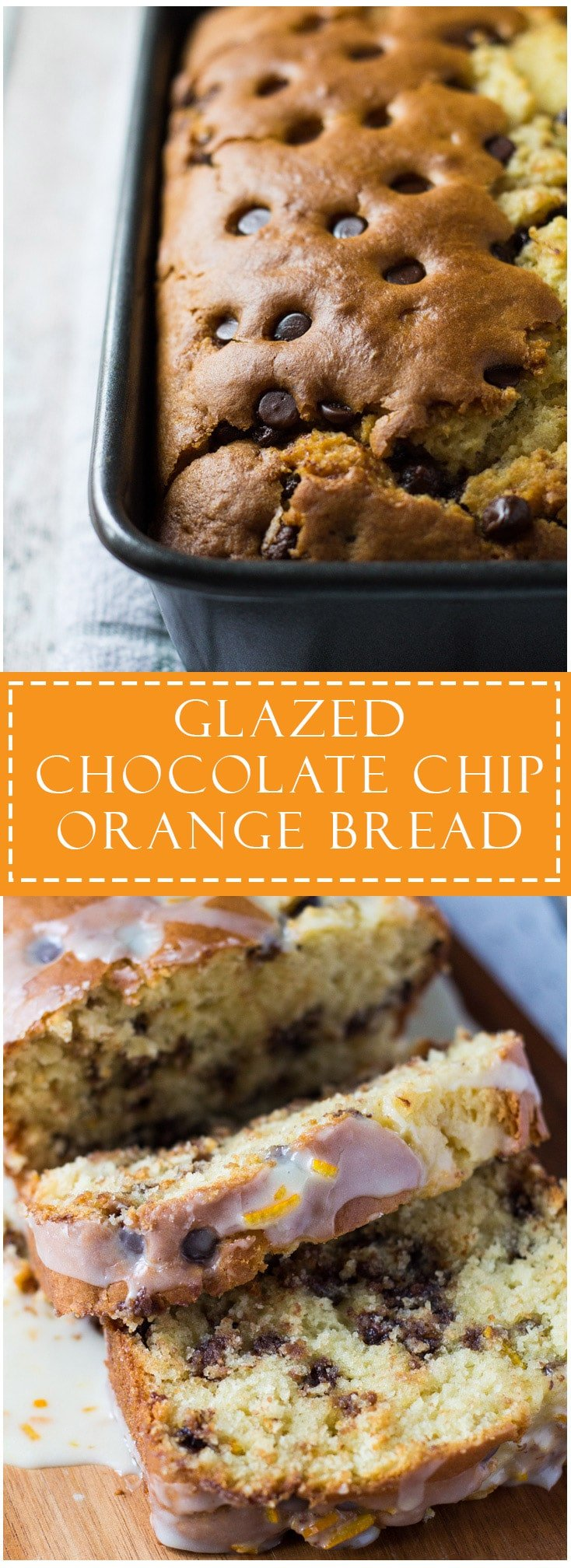 Glazed Chocolate Chip Orange Bread – Sweet, moist and tender orange bread studded with chocolate chips, and drizzled with an orange glaze!