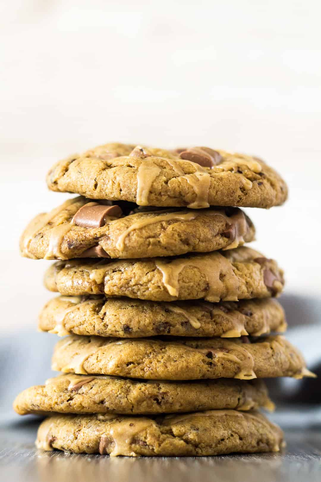 A tall stack of Chocolate Chip Coffee Cookies.