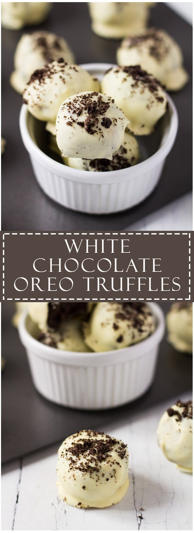 White Chocolate Oreo Truffles-Deliciously creamy and fudgy Oreo truffles dipped in white chocolate, and sprinkled with Oreo crumbs. No-bake and only 3 ingredients!