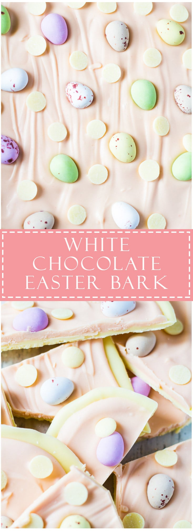A long pin of White Chocolate Easter Bark with text overlay.