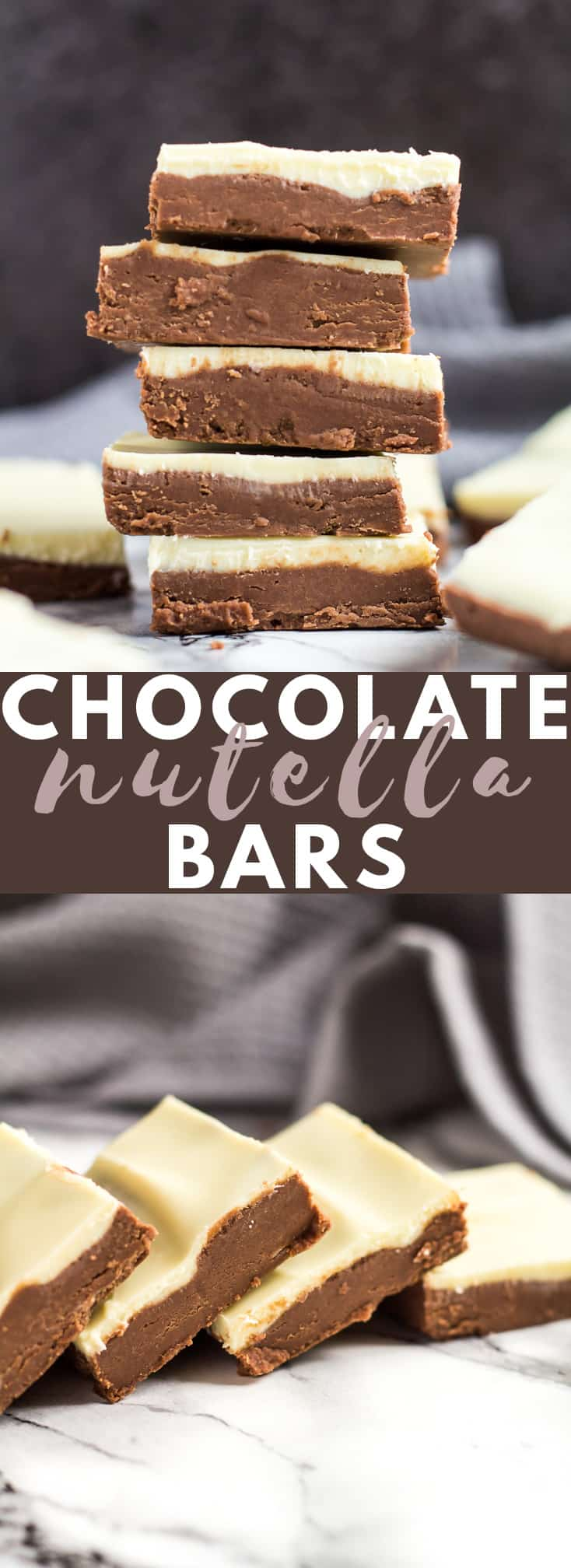 No-Bake White Chocolate Nutella Bars - Deliciously creamy and fudgy no-bake Nutella bars topped with white chocolate. A perfect quick and easy chocolate treat! #chocolate #nutella #nobake #nutellarecipes