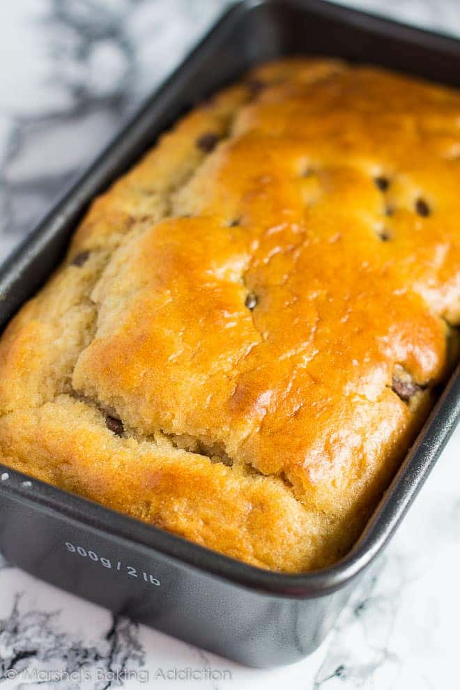 Chocolate Chip Lemon Bread in a loaf pan.