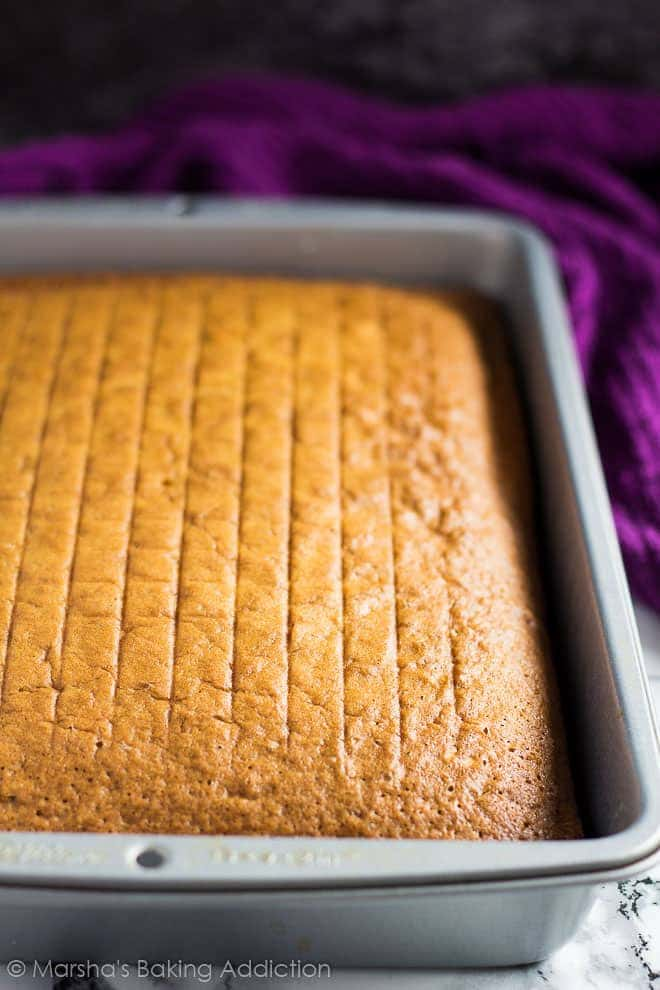 Perfect Vanilla Sheet Cake In A Rectangle Baking Pan Before Being Frosted