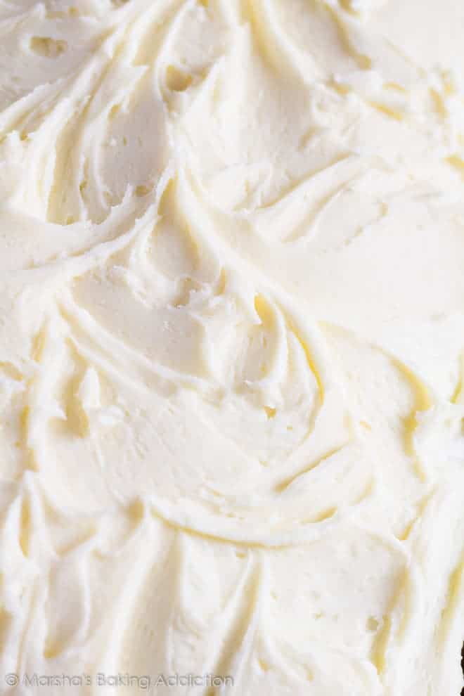 Close-up of the vanilla buttercream frosting on the Perfect Vanilla Sheet Cake.