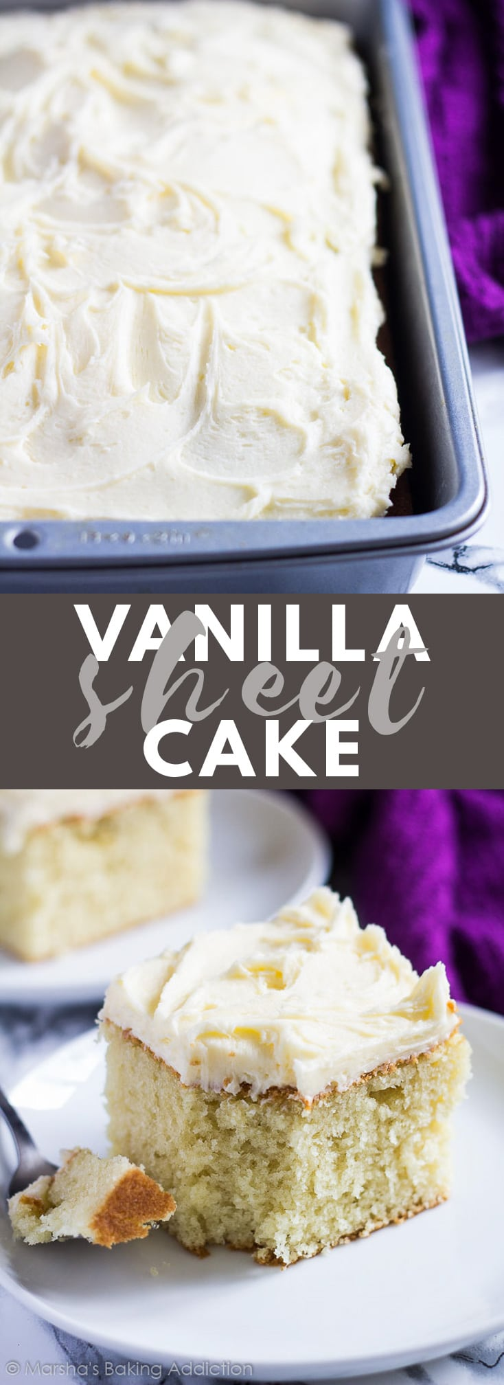 Perfect Vanilla Sheet Cake - Deliciously moist and fluffy vanilla cake baked in a rectangle pan, and topped with scrumptiously creamy vanilla buttercream frosting! #vanilla #sheetcake #cakerecipes #recipe