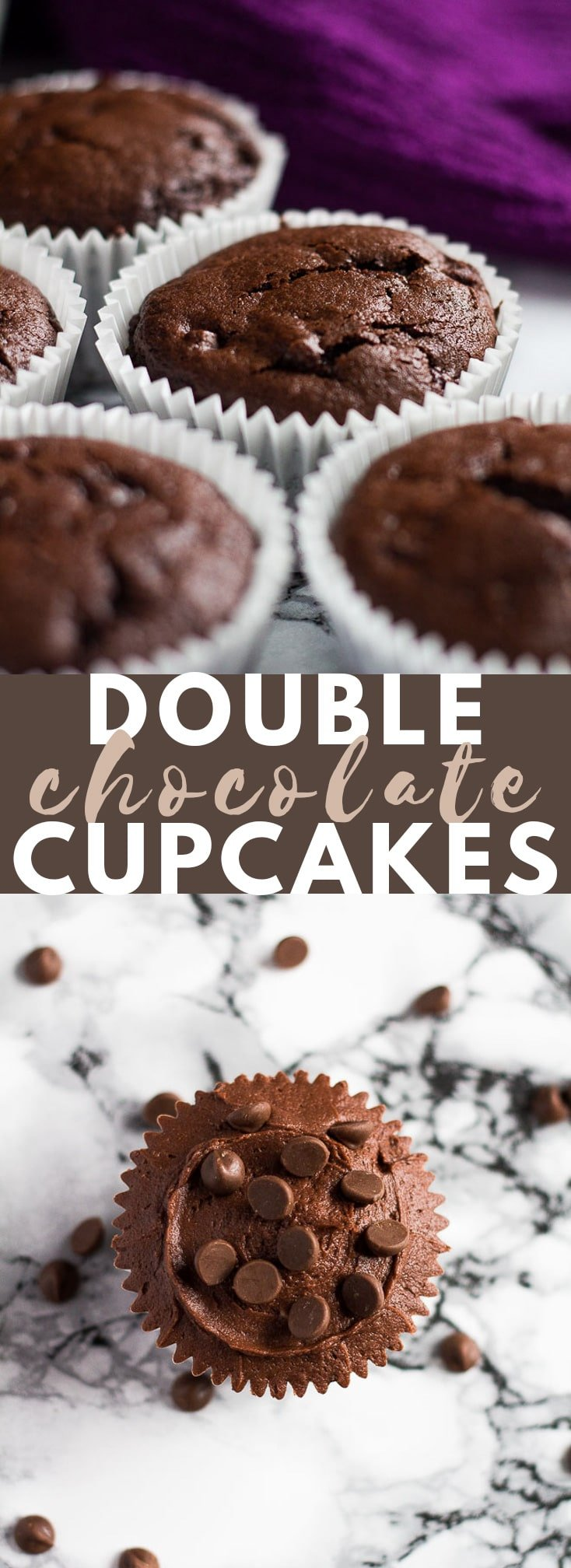 Double Chocolate Cupcakes – Deliciously moist and fluffy chocolate cupcakes stuffed with chocolate chips, and topped with a chocolate buttercream frosting!