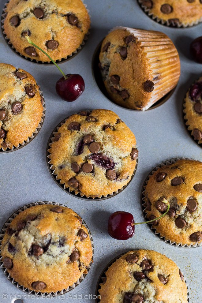 Overhead shot of Chocolate Chip Cherry Muffins in a muffin pan.