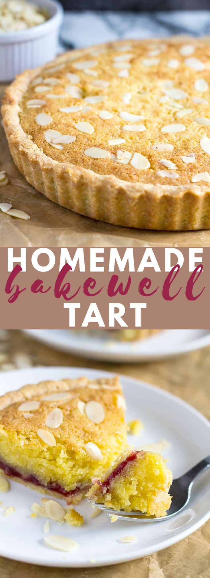 Bakewell Tart – A sweet shortcrust pastry filled with raspberry jam, almond flavoured sponge, and topped with flaked almonds!