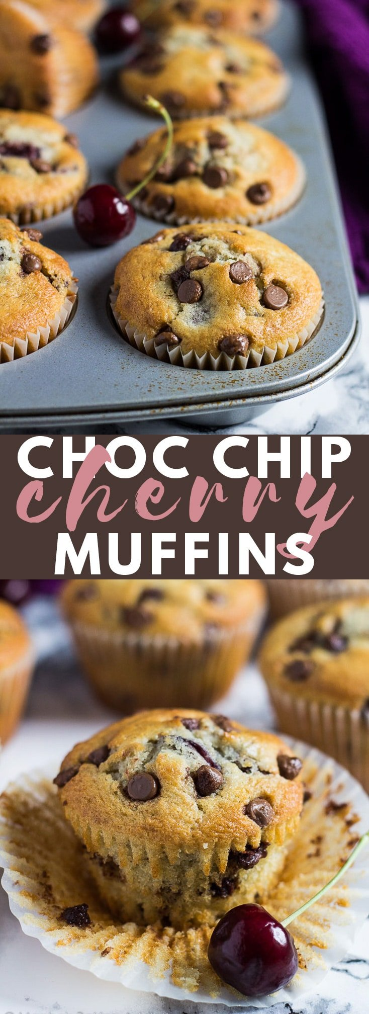 Chocolate Chip Cherry Muffins - Deliciously moist vanilla muffins loaded with chocolate chips and chopped cherries. A perfect on-the-go breakfast or snack! #chocolatechipmuffins #cherrymuffins #cherryrecipes #muffinrecipes