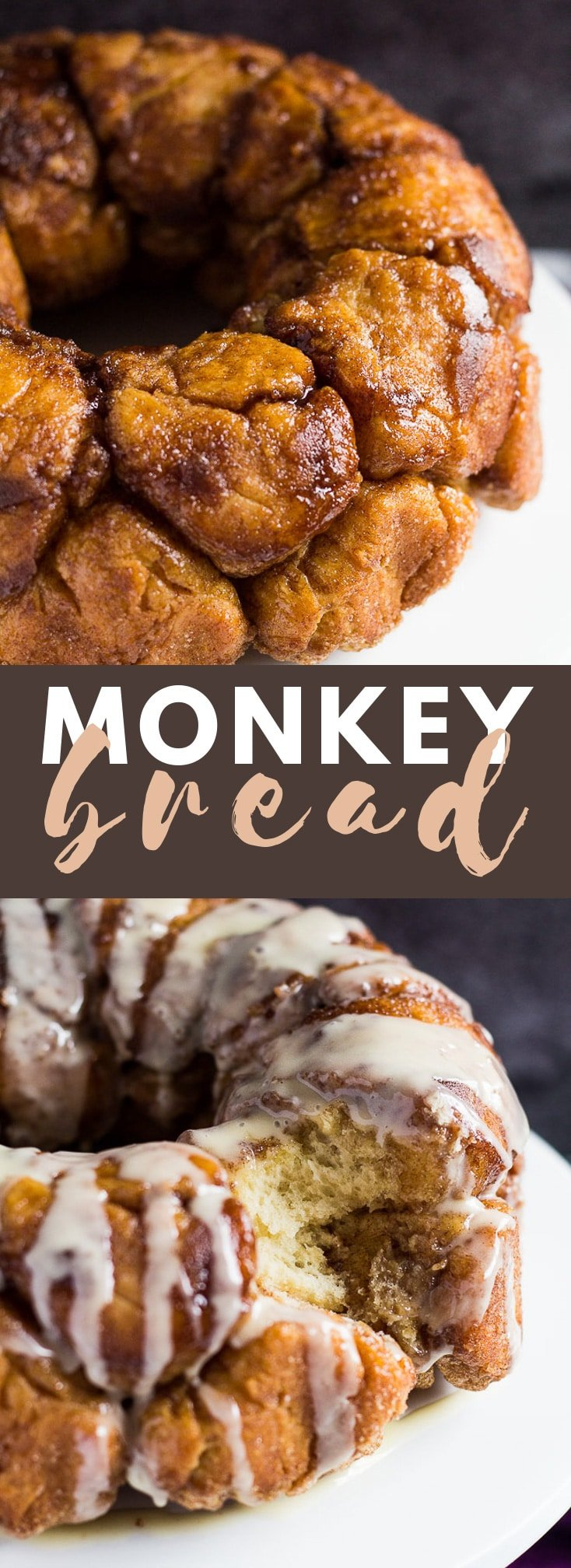 Monkey Bread – Balls of sweet bread dough coated in sugar and cinnamon, baked in a bundt pan and drizzled with a creamy glaze!
