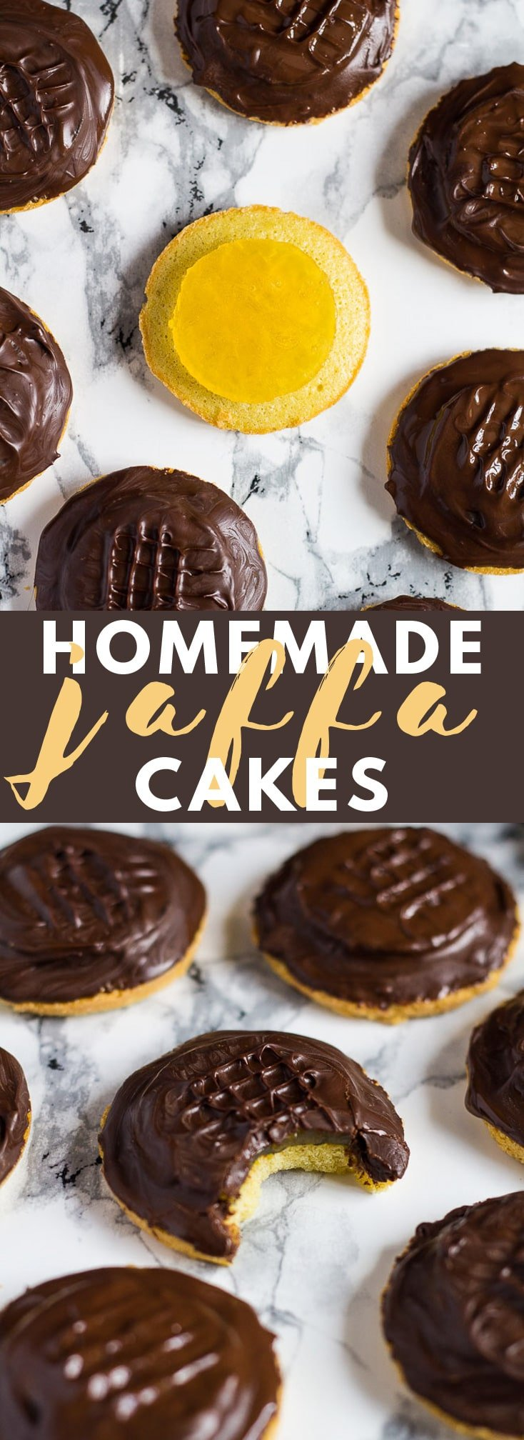 Homemade Jaffa Cakes – A British classic. Biscuit sized cakes topped with an orange jelly and sealed with dark chocolate!