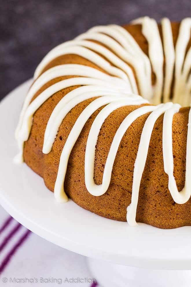 Cheesecake Swirl Pumpkin Bundt Cake | marshasbakingaddiction.com @marshasbakeblog