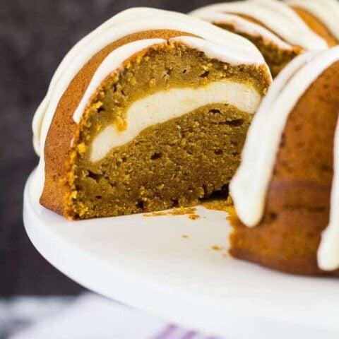 Cheesecake Swirl Pumpkin Bundt Cake