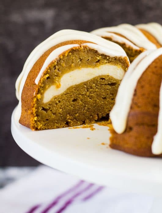 Cheesecake Swirl Pumpkin Bundt Cake | marshasbakingaddiction.com @marshasbakeblog