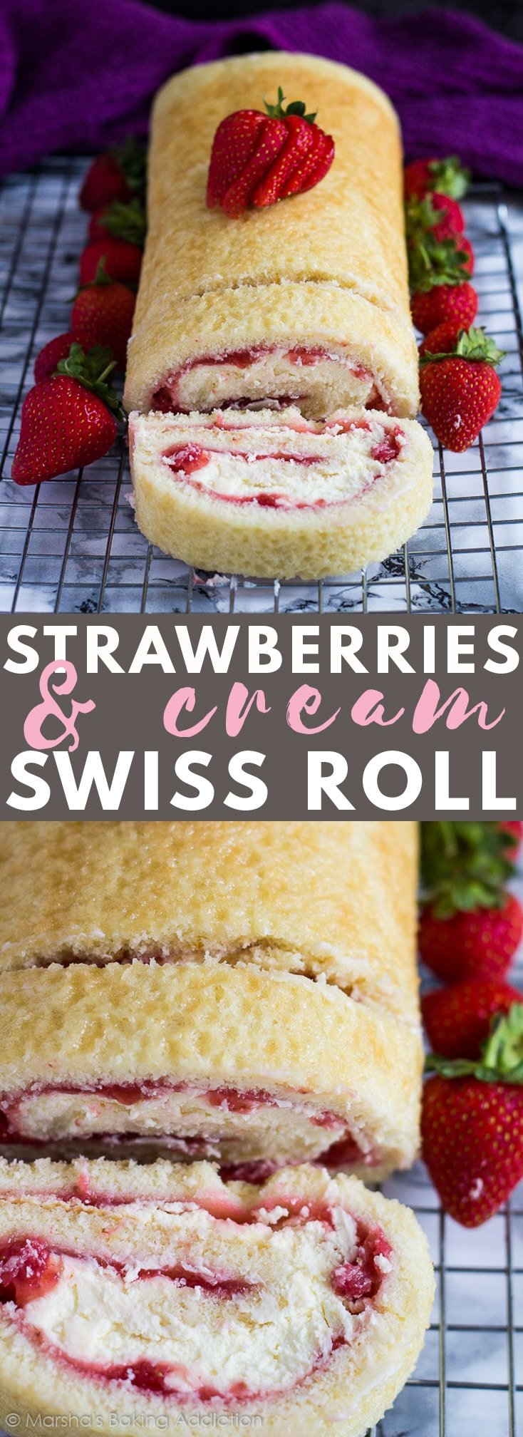 Strawberries and Cream Swiss Roll – Deliciously moist and fluffy vanilla cake filled with a layer of fresh strawberry sauce, and a layer of homemade whipped cream. The perfect summer dessert!