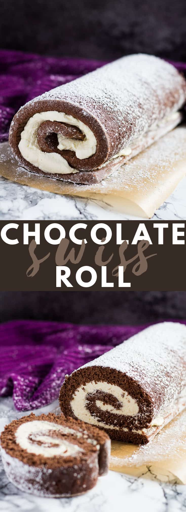 Chocolate Swiss Roll – Deliciously moist and fluffy cake filled with a thick layer of vanilla whipped cream and dusted with icing sugar!