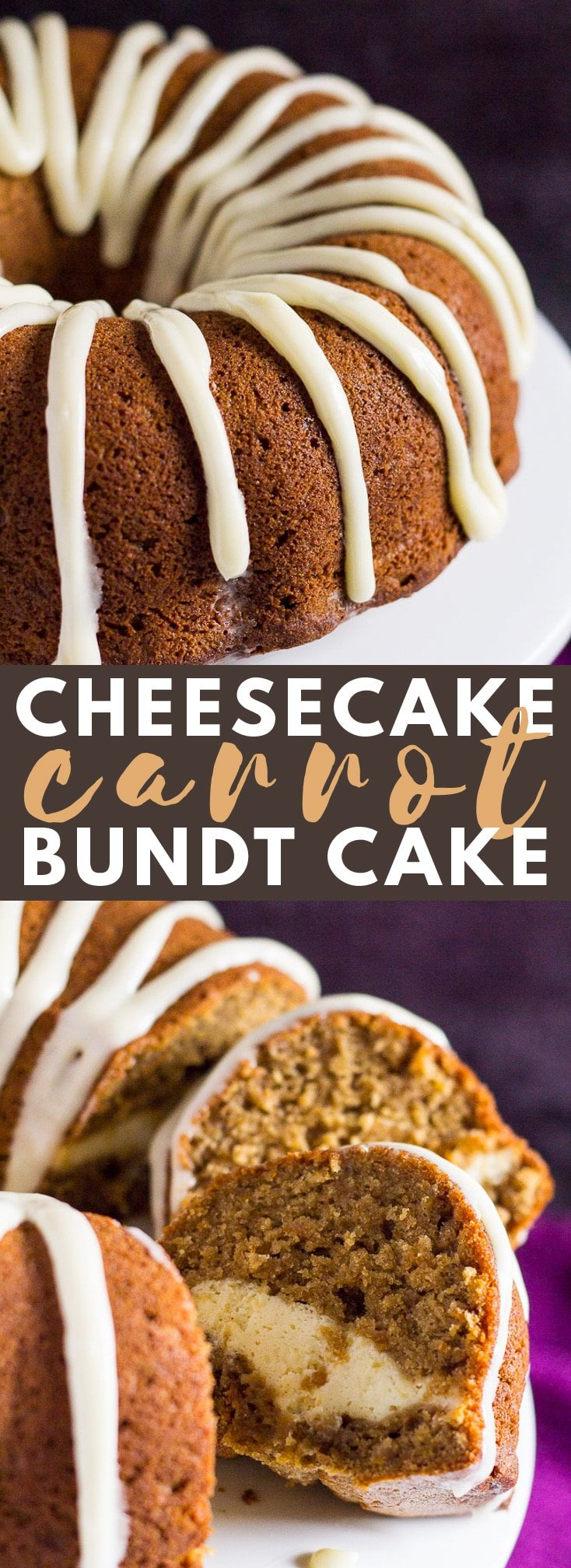 Cheesecake Swirl Carrot Bundt Cake - A deliciously moist and fluffy spiced carrot bundt cake that is stuffed with a creamy cheesecake centre! #carrotcake #bundtcake #cakerecipes