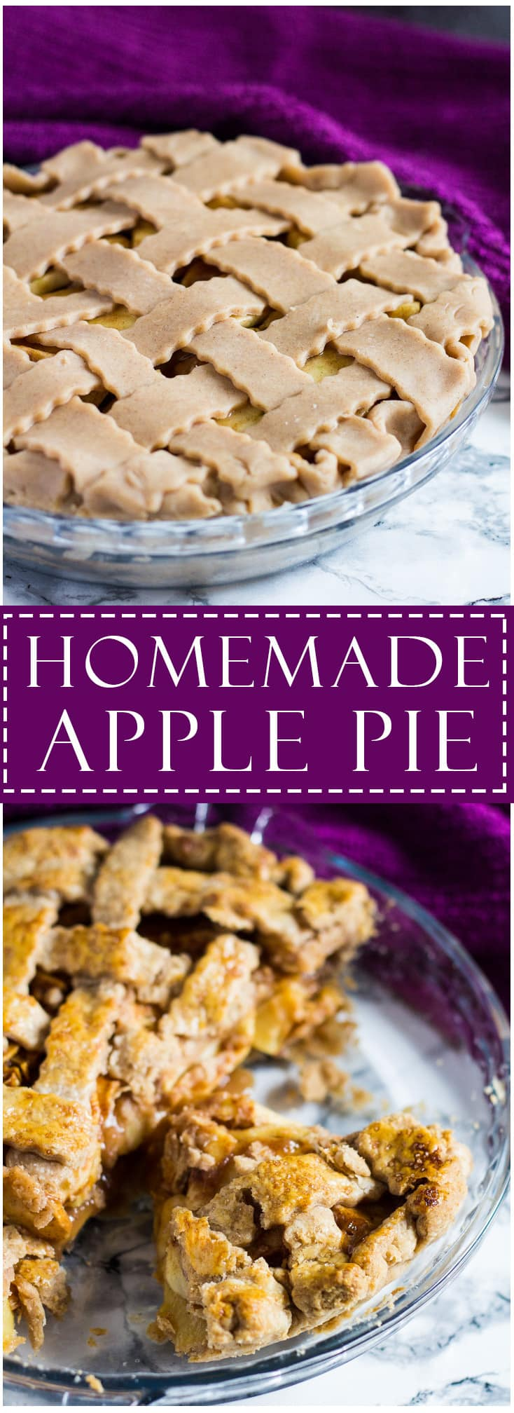 A long image of Homemade Apple Pie with text overlay.