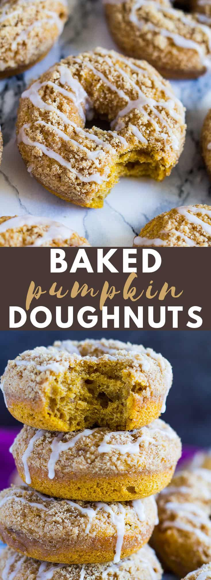 Baked Pumpkin Streusel Doughnuts - Deliciously moist and fluffy spiced pumpkin doughnuts that are BAKED, not fried, topped with a crunchy cinnamon streusel, and drizzled with a sweet glaze! #bakeddonuts #pumpkindonuts #pumpkinrecipes