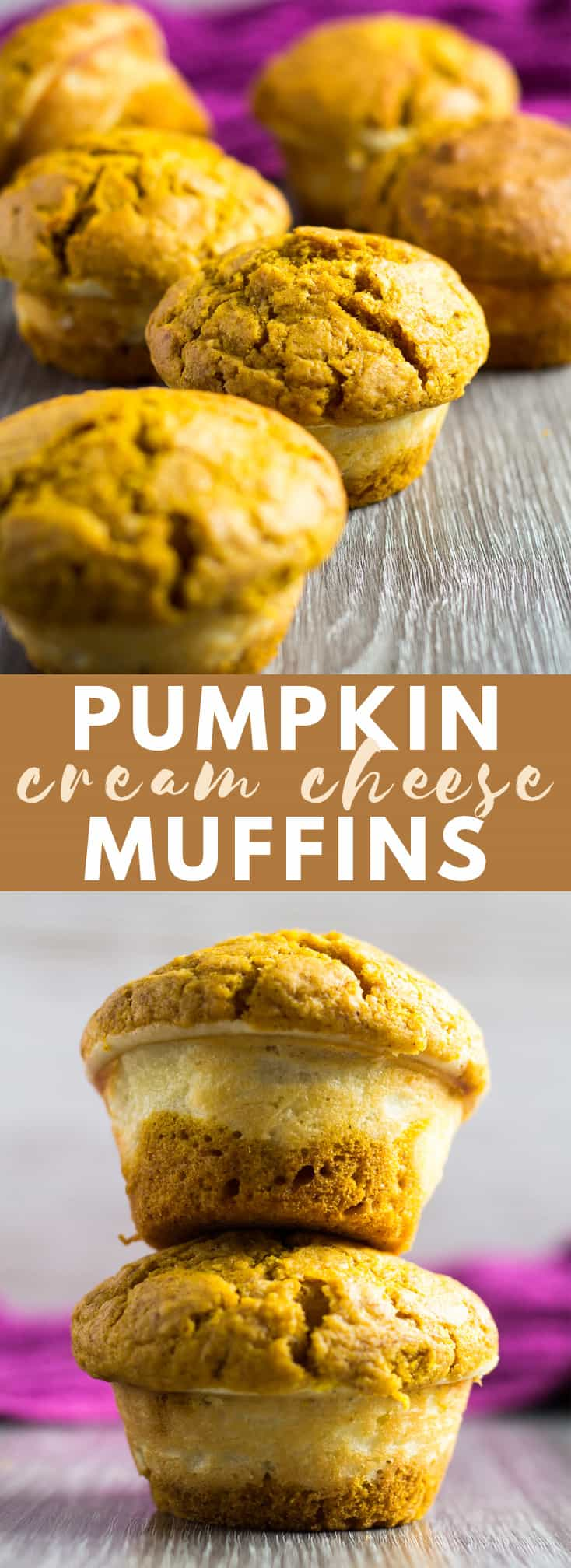 Pumpkin Cream Cheese Muffins - Deliciously moist and fluffy pumpkin muffins that are stuffed with a creamy cheesecake layer. Perfect for those cooler autumn mornings!
