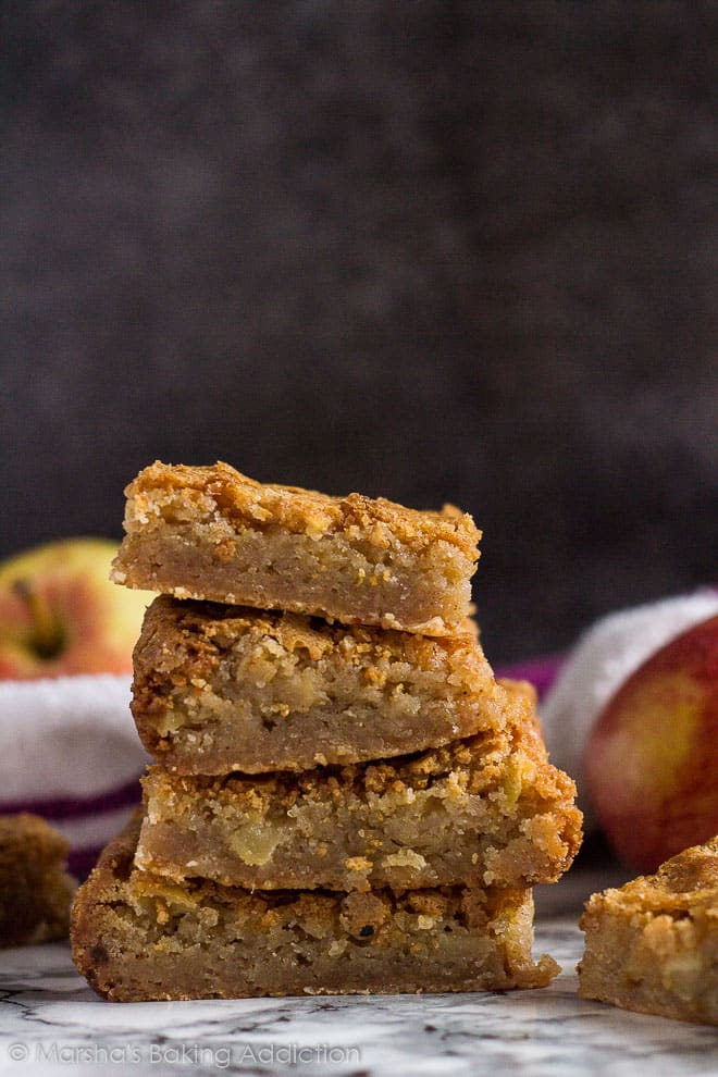 A stack of Apple Cinnamon Blondies on marble background.