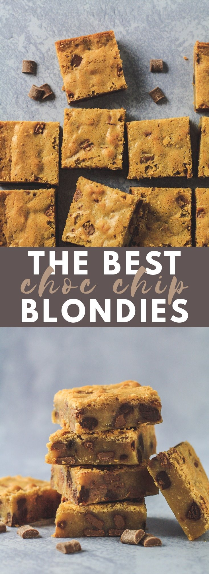 The BEST Chocolate Chip Blondies - These deliciously thick and chewy blondies are stuffed full of chocolate chips, big on flavour, and have that irresistible crinkly top!