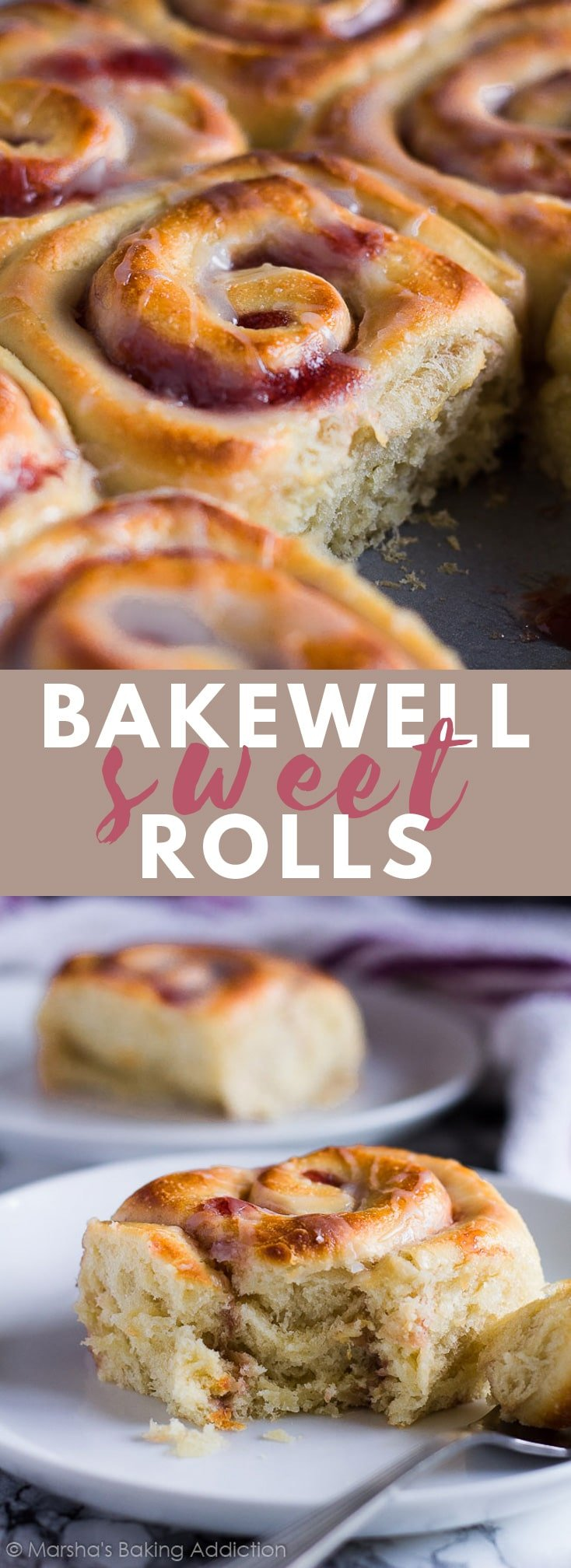 Bakewell Sweet Rolls –  Deliciously soft and fluffy almond flavoured sweet rolls filled with raspberry jam, and drizzled with a sweet almond glaze!