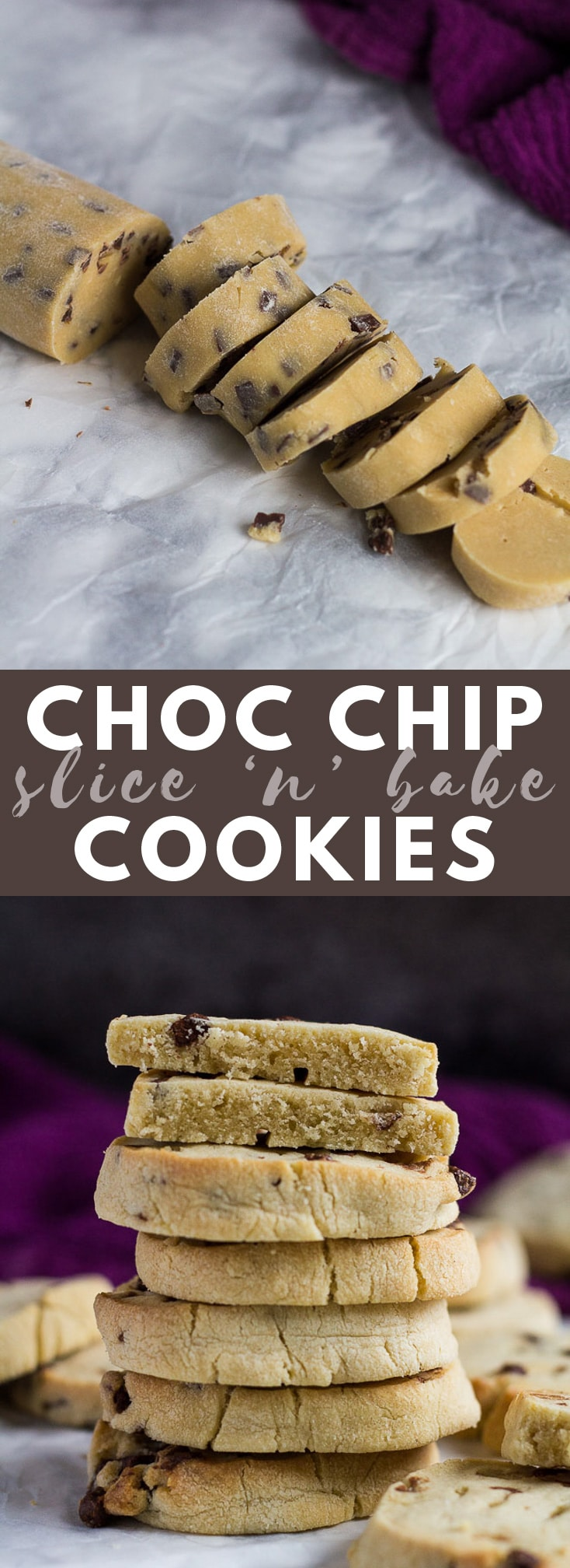 Chocolate Chip Slice 'n' Bake Cookies- Deliciously buttery, melt-in-your-mouth cookies stuffed full of chocolate chips! #chocolatechipcookies #cookierecipes #cookies