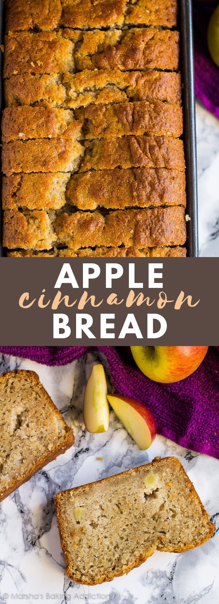 Apple Cinnamon Bread – Incredible moist and delicious cinnamon-spiced bread studded with juicy apple chunks. Perfect with your morning tea or coffee!