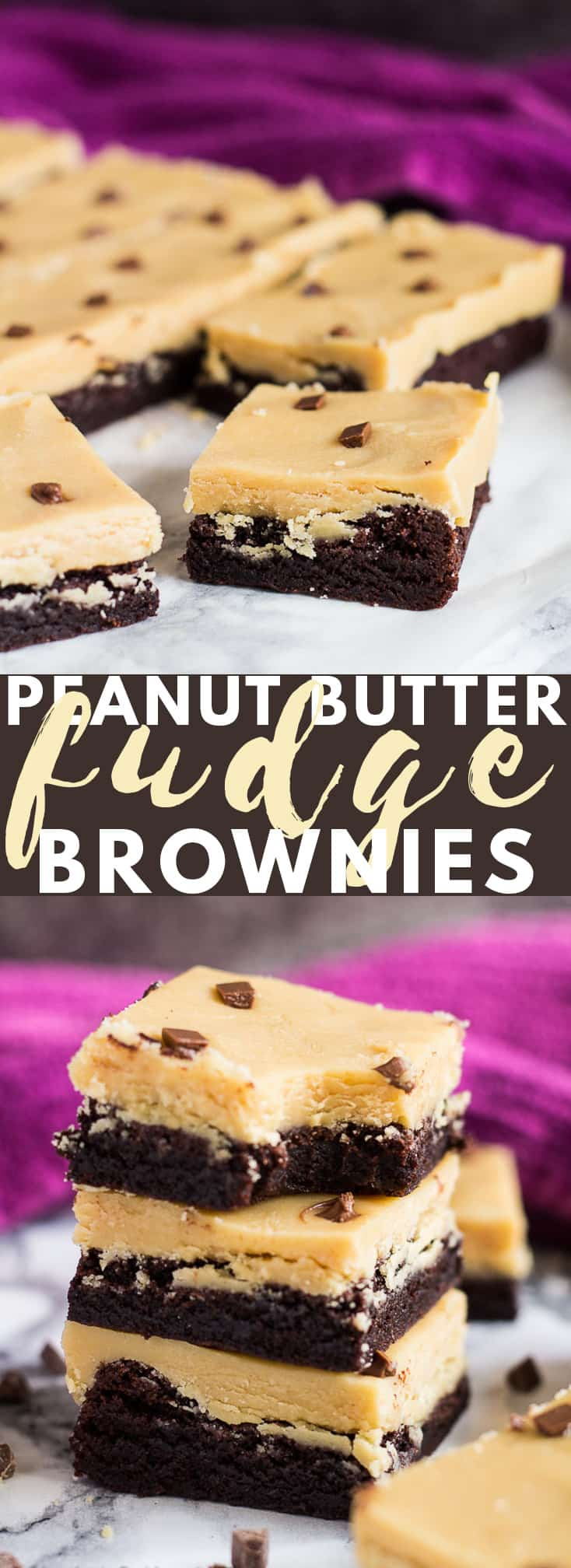 Peanut Butter Fudge Brownies - Deliciously thick and chewy rich chocolate brownies that are topped with a thick layer of creamy peanut butter fudge!