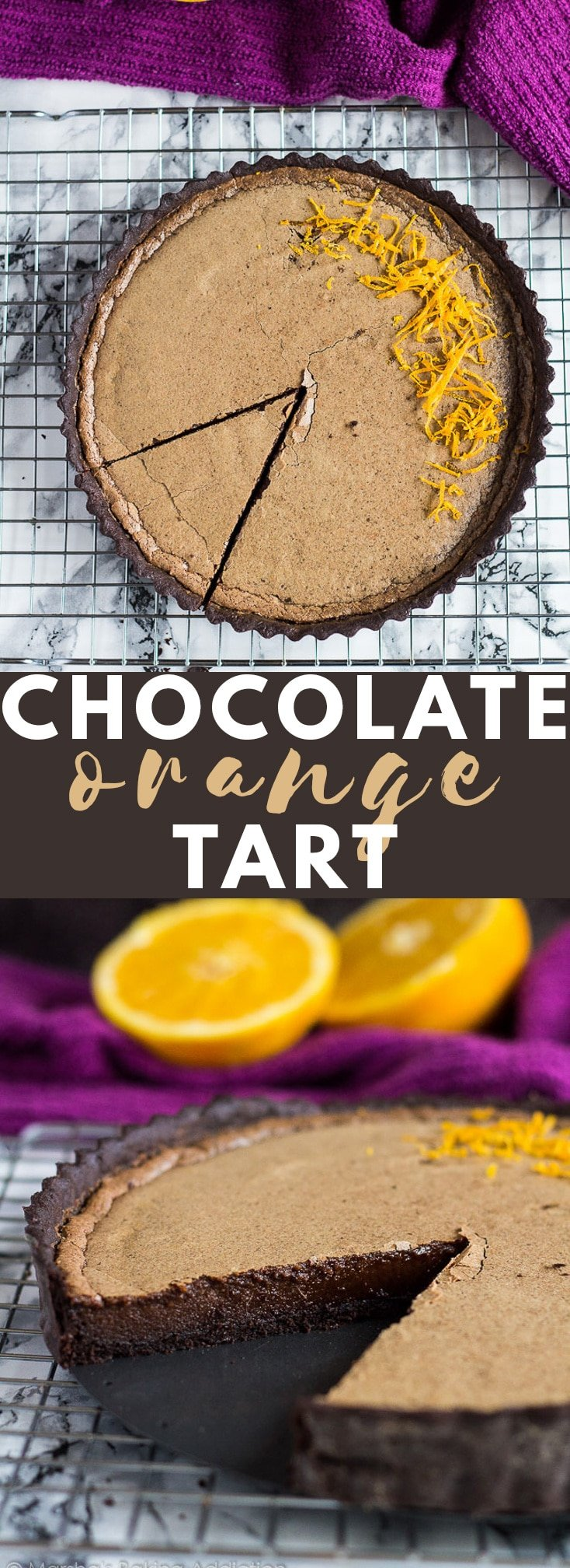 Dark Chocolate Orange Tart- A buttery, flaky chocolate orange-infused crust filled with a luxuriously creamy chocolate orange pudding! #chocolate #orange #tartrecipes #chocolaterecipes
