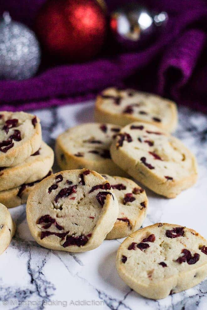 Cranberry Orange Slice 'n' Bake Cookies | marshasbakingaddiction.com @marshasbakeblog