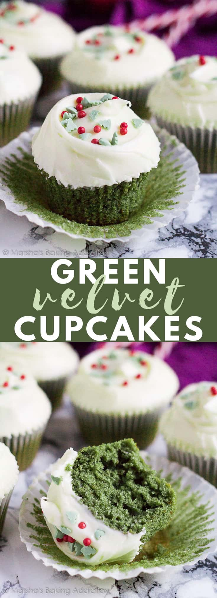 Green Velvet Cupcakes- Deliciously moist and fluffy green vanilla cupcakes topped with a cream cheese frosting and Christmas sprinkles! #greenvelvet #cupcakes #cupcakerecipes #christmas #christmasrecipes