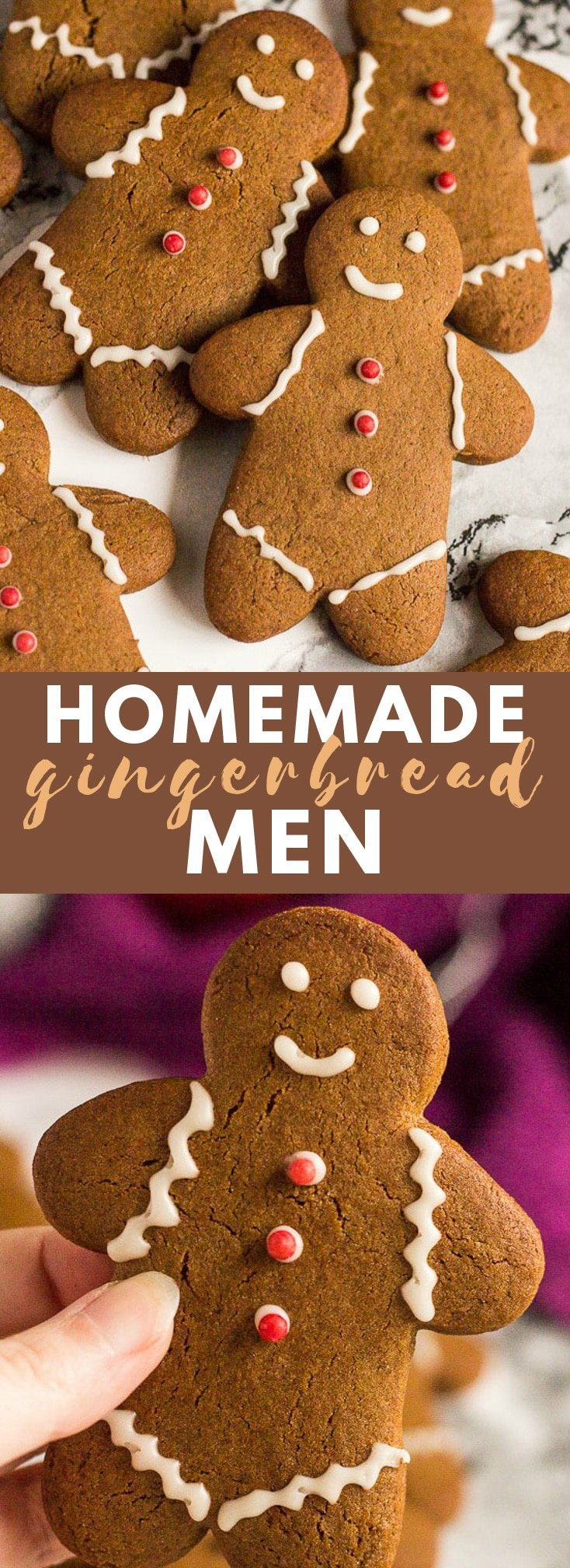 Gingerbread Men - Deliciously ginger-spiced cookies that are slightly soft on the inside, and crispy on the outside, and decorated with icing! #gingerbreadmen #gingercookies #cookierecipes #christmascookies #christmasrecipes