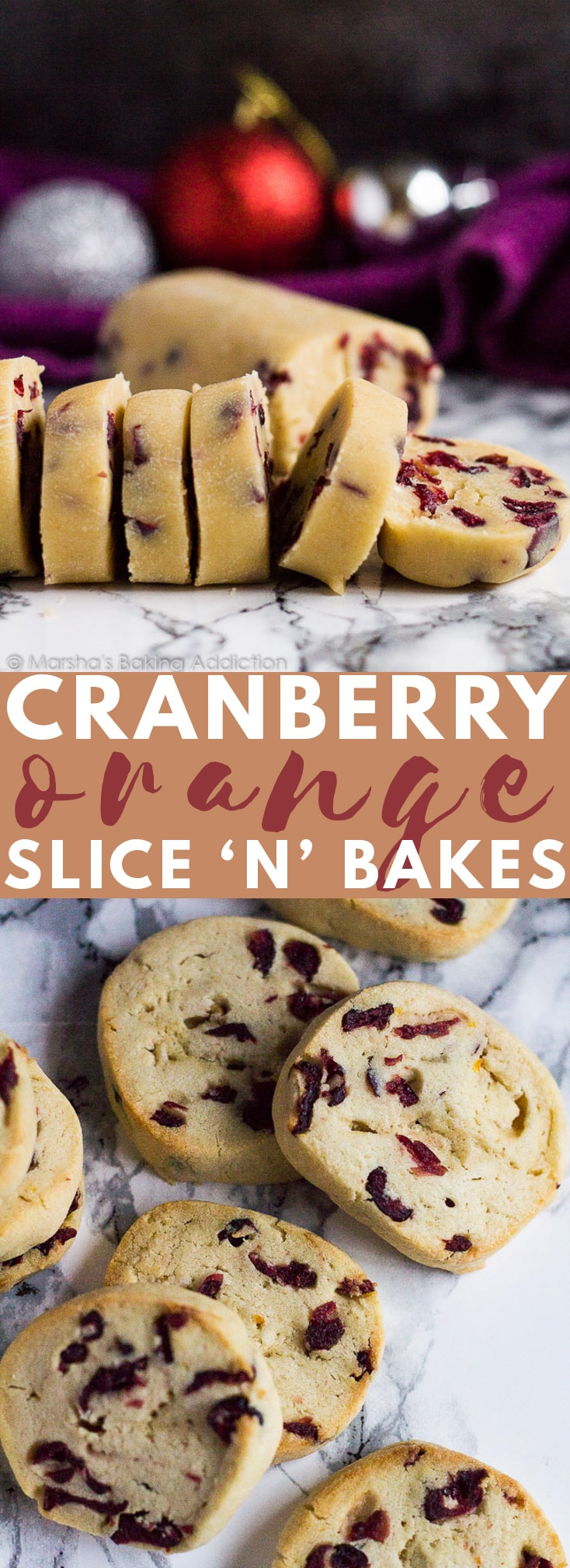Cranberry Orange Slice 'n' Bake Cookies- Deliciously soft and thick, melt-in-your-mouth orange-infused cookies studded with sweet dried cranberries! #cranberry #orange #cookies #cookierecipes #christmascookies