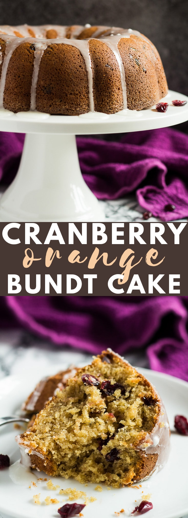 Cranberry Orange Bundt Cake – A deliciously moist and fluffy cinnamon-spiced, orange-infused bundt cake stuffed full of sweet cranberries, and drizzled with an orange glaze!
