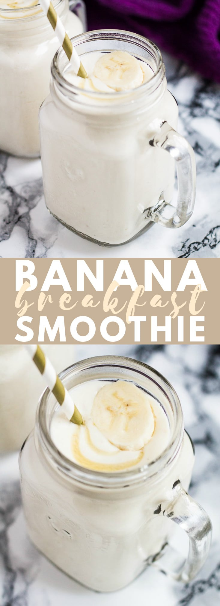 Banana Breakfast Smoothie- Deliciously thick and creamy banana smoothie, that is super healthy and made from only 4 ingredients - the perfect smoothie for breakfast!