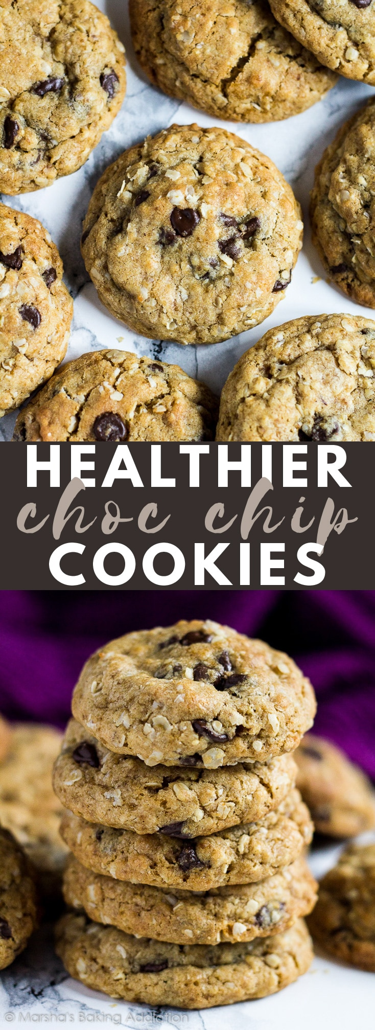 Healthier Chocolate Chip Cookies - Deliciously thick and chewy chocolate chip cookies made with no butter, or refined white sugar. The BEST healthier cookies! #chocolatechipcookies #healthycookies #cookierecipes