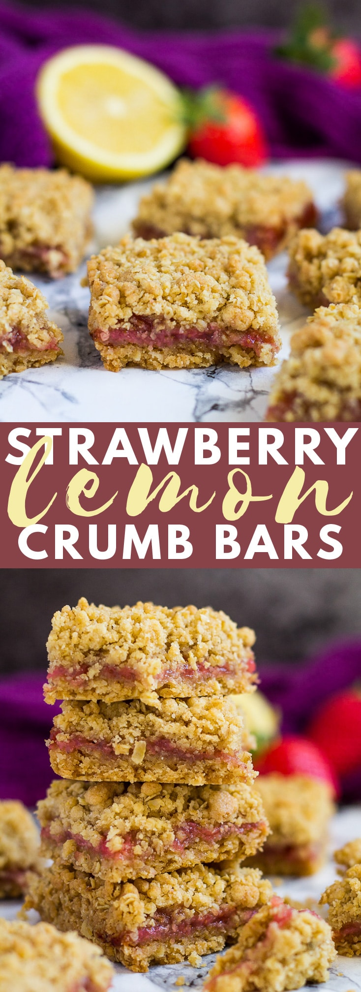 Strawberry Lemon Crumb Bars - Deliciously thick and chewy bars that are oh so buttery and crumbly, and filled with homemade strawberry lemon jam! #strawberry #lemon #crumbbars #recipe
