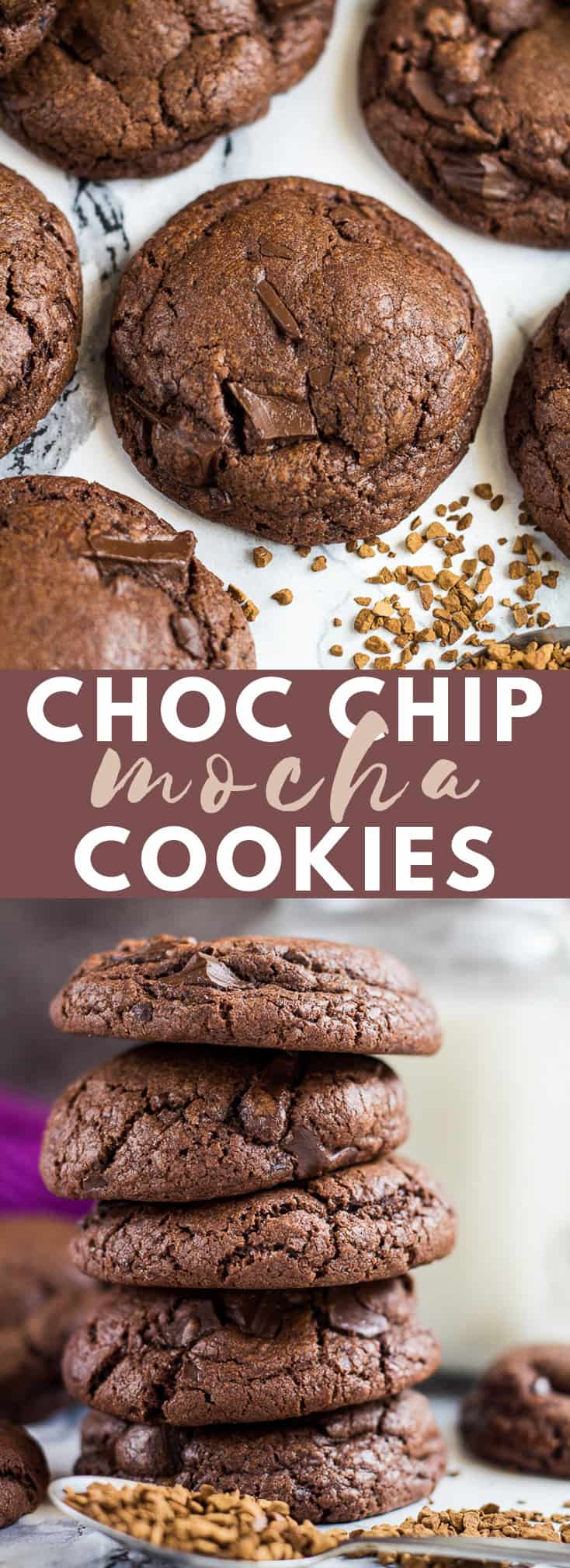 Chocolate Chip Mocha Cookies- Deliciously soft, thick, and chewy chocolate cookies infused with coffee and studded with chocolate chunks. No chilling required! #chocolatechipcookies #mocha #chocolatecookies #cookierecipes