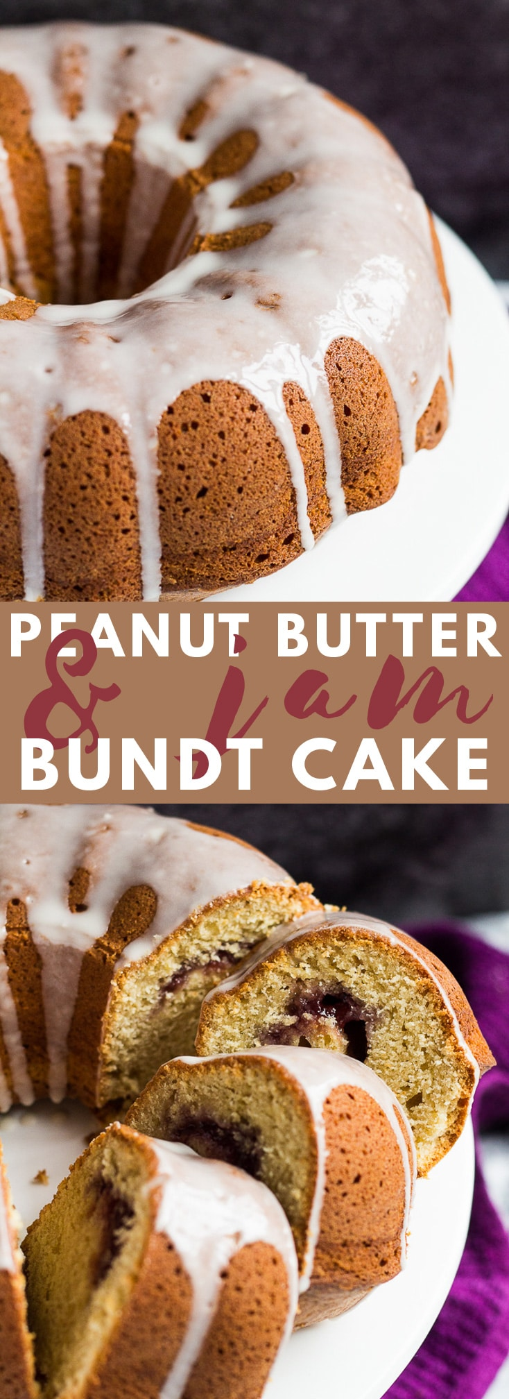 Peanut Butter and Jam Bundt Cake - A scrumptiously moist and fluffy peanut butter flavoured bundt cake swirled with a strawberry jam filling! #peanutbutter #jam #bundtcake #cakerecipes