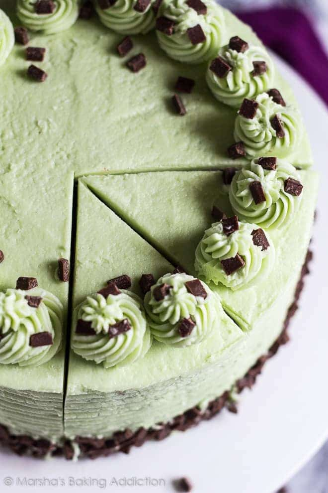 Mint Chocolate Chip Layer Cake | marshasbakingaddiction.com @marshasbakeblog