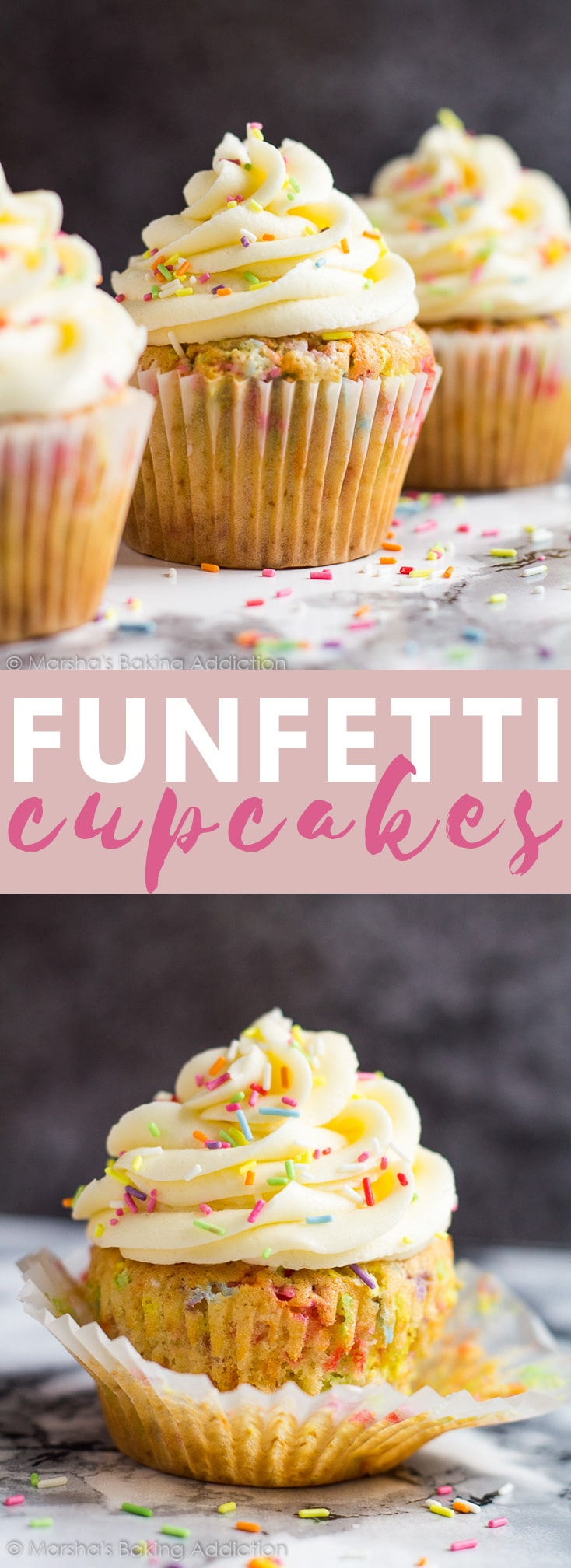 Funfetti Cupcakes - Deliciously moist and fluffy vanilla cupcakes loaded with rainbow sprinkles and topped with sweet vanilla buttercream frosting! #funfetti #cupcakes #cupcakerecipes